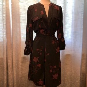 NWOT black and burgundy button down belted dress